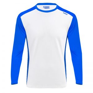 Maillot technique runnek ethilo blanc bleu royal homme face