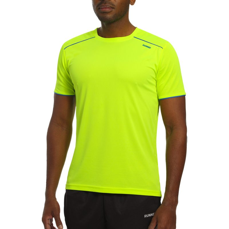 Maillot technique runnek ultra jaune fluor bleu royal homme