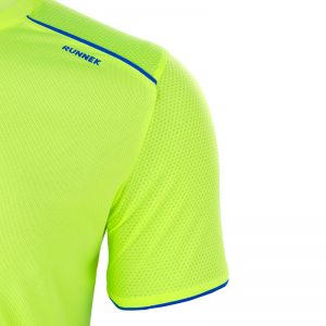 Maillot technique runnek ultra jaune fluor bleu royal homme detail