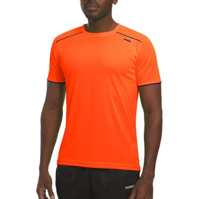 Maillot technique runnek ultra orange fluo bleu navy