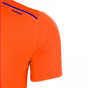 Maillot technique runnek ultra orange fluo bleu navy detail