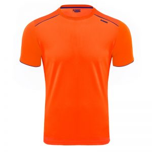 Maillot technique runnek ultra orange fluo bleu navy face
