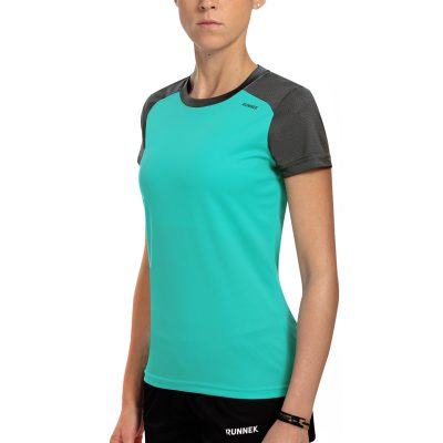 Maillot technique runnek limit bleu acquamarine gris plomb femme