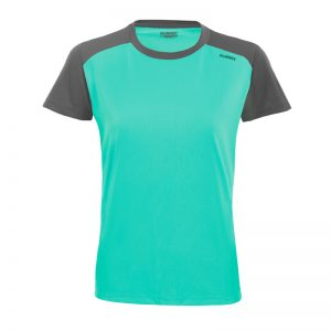 Maillot technique runnek limit bleu acquamarine gris plomb femme face