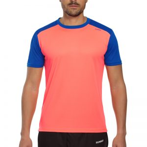 Maillot technique runnek limit corail fluo bleu royal homme