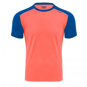 Maillot technique runnek limit corail fluo bleu royal homme face