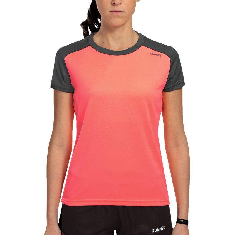 Maillot technique runnek limit corail fluo plomb femme