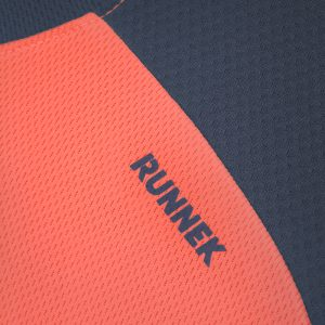 Maillot technique runnek limit corail fluo plomb femme detail