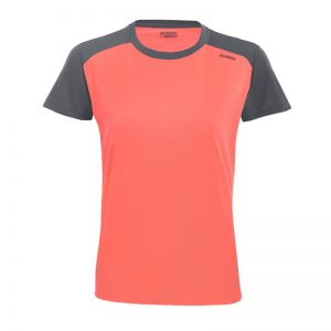 Maillot technique runnek limit corail fluo plomb femme face