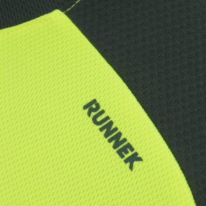 Maillot technique runnek limit jaune fluo girs plomb homme detail