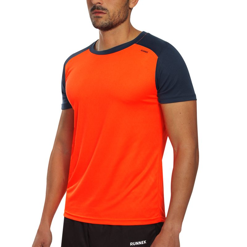 Maillot technique runnek limit orange fluo bleu navy homme