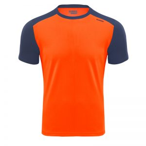 Maillot technique runnek limit orange fluo bleu navy homme face
