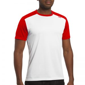Maillot technique runnek milos blanc rouge homme