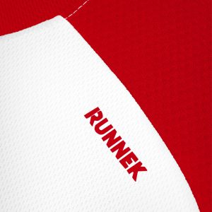 Maillot technique runnek milos blanc rouge homme detail