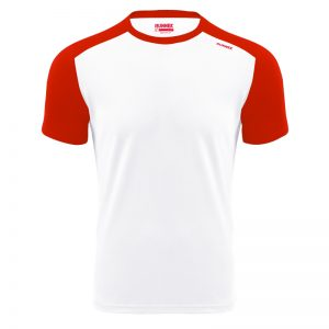 Maillot technique runnek milos blanc rouge homme face