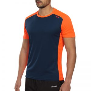 Maillot technique runnek score bleu navy orange fluo