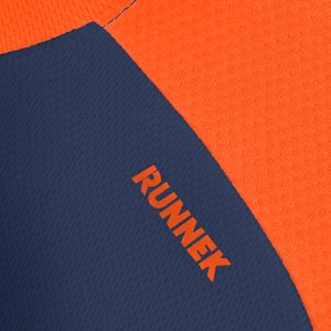 Maillot technique runnek score bleu navy orange fluo detail