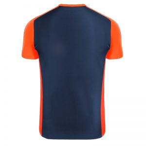 Maillot technique runnek score bleu navy orange fluo dos
