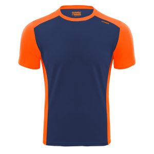 Maillot technique runnek score bleu navy orange fluo face