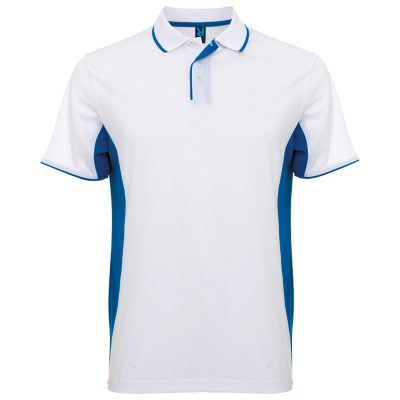 Polo technique sport homme blanc bleu royal