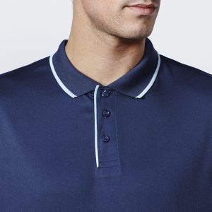 Polo technique sport homme bleu navy bleu ciel detail