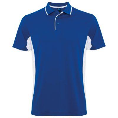 Polo technique sport homme bleu royal blanc