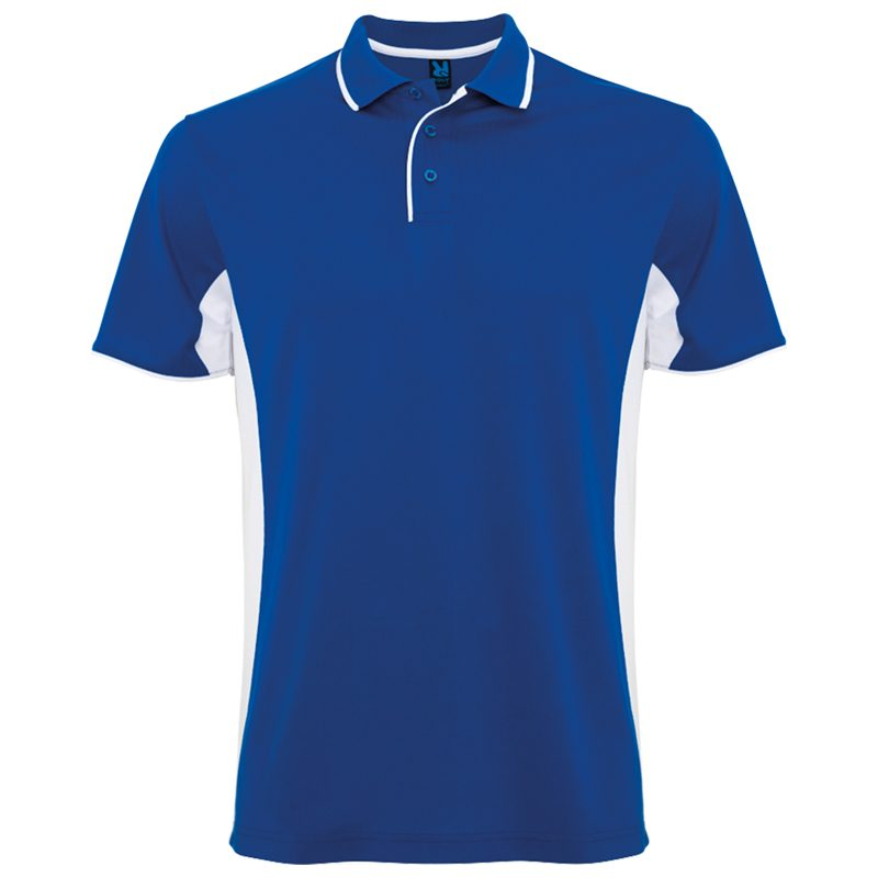 Polo technique sport homme bleu royal blanc