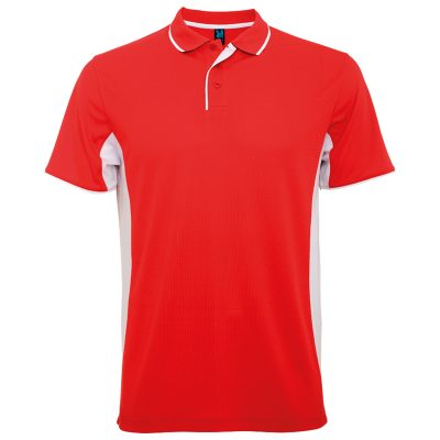 Polo technique sport homme rouge blanc