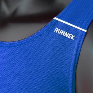 debardeur technique runnek ultravest bleu royal blanc femme detail