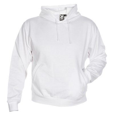 sweat shirt capuche coton blanc