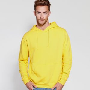 sweat shirt capuche coton jaune detail