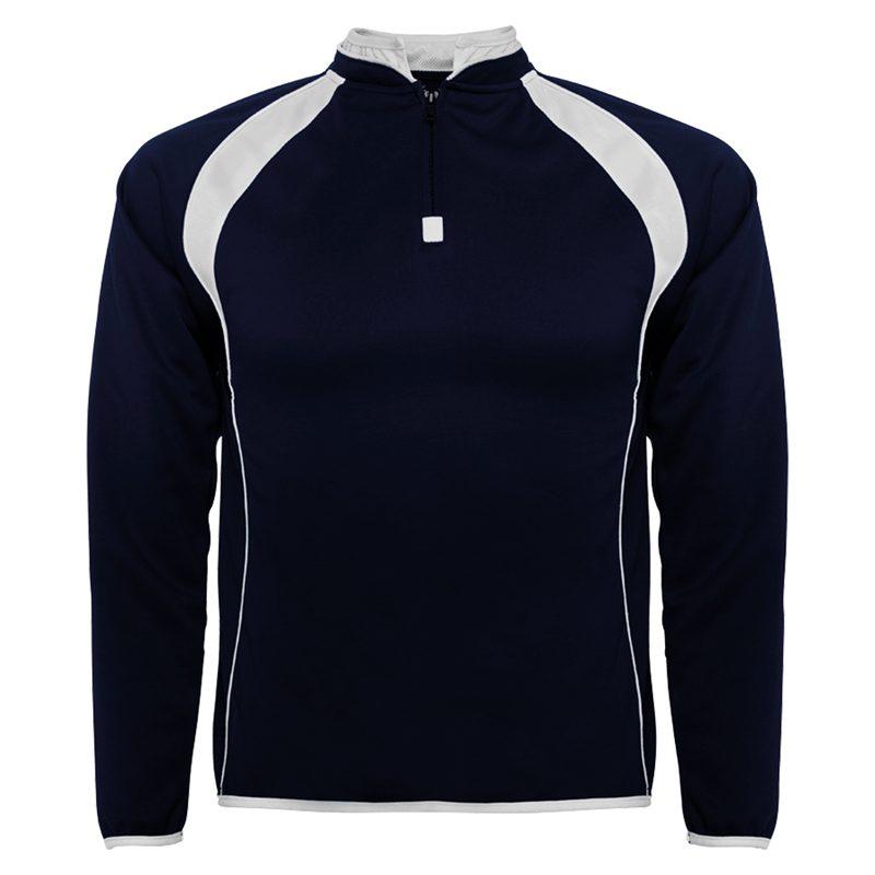 sweat shirt sport runnek bleu navy blanc