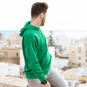 sweat shirt technique capuche vert detail
