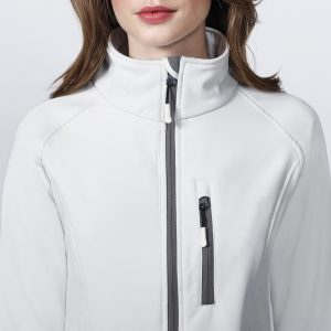 veste technique soft shell femme blanc detail
